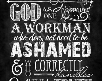 Scripture Art - 2 Timothy 2:15 Chalkboard Style