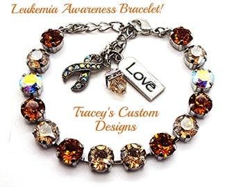 Stunning LEUKEMIA AWARENESS 8mm Swarovski Elements Bracelet