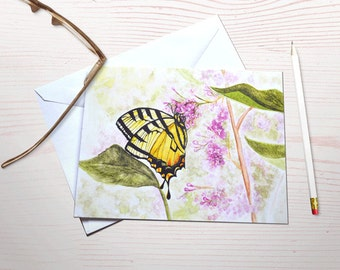 Butterfly stationery, watercolor butterfly, yellow swallowtail, butterfly garden, gardening notecards, personal stationery set, art reprints