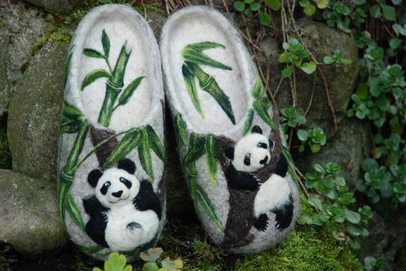 Felted Slippers- Panda -Made to order-