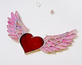 Valentine Day Flying Heart and Wings Rock and Roll Winged Heart Motorcycle Gift Romance Angel Wings
