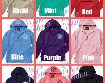 Rain Coat Jacket Pullover  Windbreaker Womens Personalized Pack n Go Monogram Charles River