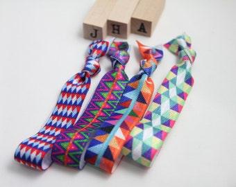 Children/everyday fold over hair ties - retro prints