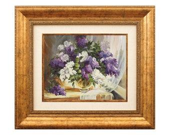 Flowers Art Oil Painting on Canvas - Lilacs Still Life Framed Home Decor
