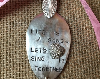 Ornament - LIFE is a SONG * Let's SING It Together - Stamped Spoon