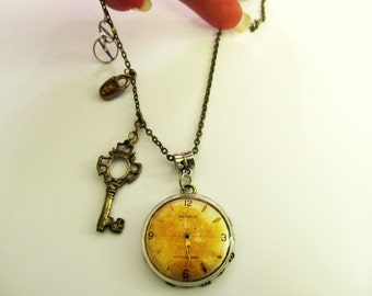 Steampunk Vintage Benrus Rusted Dial Necklace, With Face Crystal on top, Key, Lock, and Watch Wheels, From Watch Parts, For Men, Teens #SH2