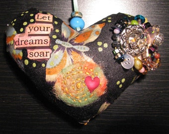 Mixed Media Heart Ornie, Holidays, Valentines Day, hanging ornie, cotton fabric, beads, ribbon