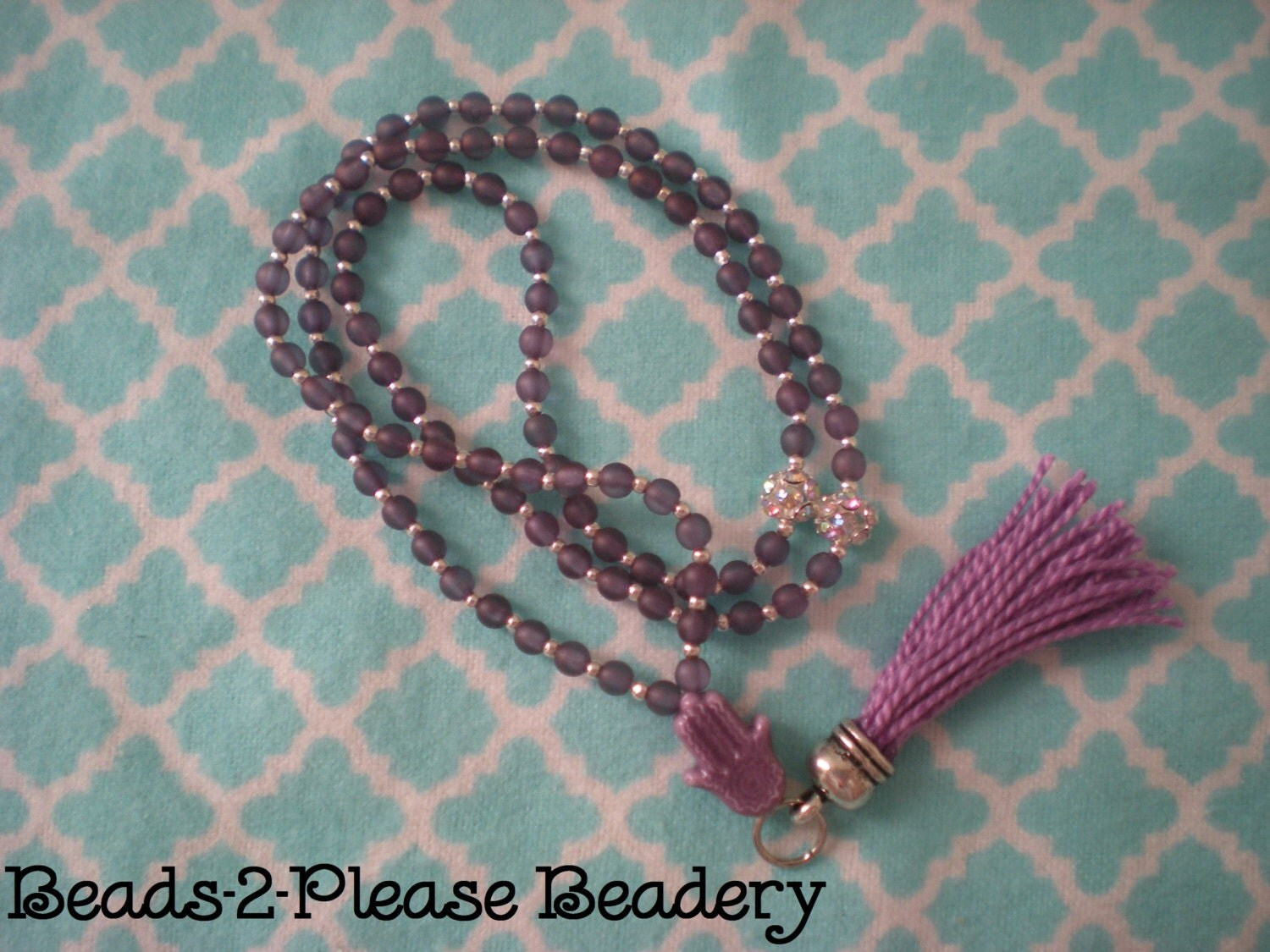 swarovski purple luster glass islamic prayer beads 99. Black Bedroom Furniture Sets. Home Design Ideas