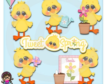 2015 Tweet Spring Chicks Clip art  Clipart Graphics  Commercial Use