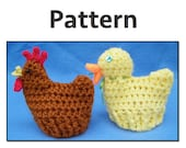 PATTERN: Crocheted chicken and duck Easter Cozies. Hen, rooster, duck, duckling. Easter baskets.
