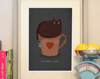 Cat Poster - If it fits, I sits. Cat drawing A3 poster. Cute cat print for Cat Lovers.