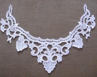 Pair lace appliques white cotton bridal flower appliques
