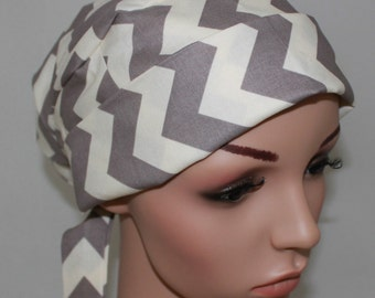 Gray Chevron Surgical Scrub Hat, Pleated with band, Women's Surgical Scrub Cap, OR Nurse ,Scrub Hat