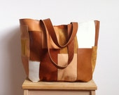 FREE SHIPPING // PATCHWORK Leather Bag 02 // unique and one of a kind leather tote