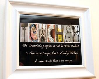 8x 10 Photo Print TEACHER Gifts Wall Alphabet Photo Art Personalized Custom Name