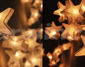 20 White Stars LANTERN Paper Handmade Fairy String Lights Party Patio Wedding Floor Table or Hanging Gift Home Decor Children Bedroom