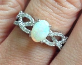 ONLY One Available Opal Diamond Twist Ring