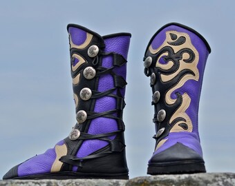 Om Yoga Boots - Custom Purple Moccasins  with Om Symbol in Black on Cream Trim - Custom Fitted - Custom Designed - Leather Women's Boots