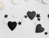 Christmas garland  black white fabric garland Christmas tree ornaments wooden star decor gift idea