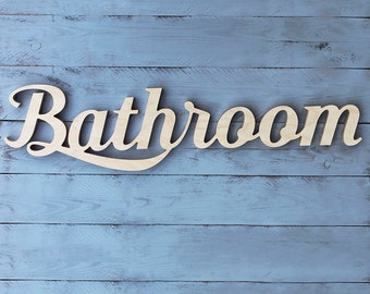 Bathroom wooden sign wood words home hotel black decor script letters decoration any color wall hanging gift idea