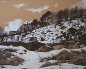 The Alnmouth Friary in Snow- Mounted Limited Edition Print
