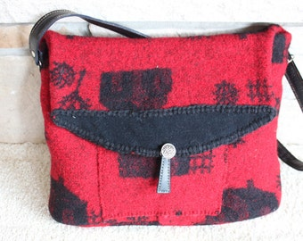 Red Black Felted Wool Purse, Upcycled Sweater,