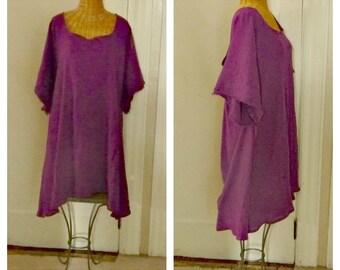 Beach Plum Sundress Custom Sizes Amethyst Summer Berry Dress A-Line Cotton With Below Elbow Sleeves Beach Gauze Cover Up Plus Size Womens