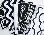 Fabric Scraps Bundle - Black White, Gotcha Zig Zag Canopy Arrow Herringbone Bordeaux Premier Prints REMNANTS