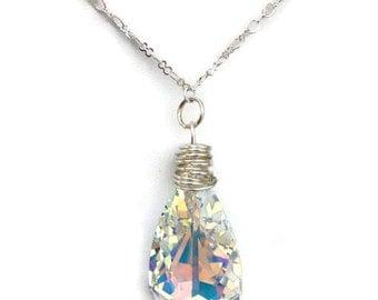 Swarovski Necklace, Teardrop Necklace, Swarovski Pendant, Sparkle Necklace, Bridal necklace