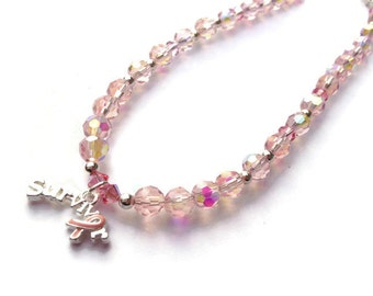 Pink Survivor Anklet, Inspirational jewelry, Swarovski anklet, Breast Cancer Awareness jewelry
