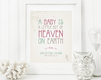 Personalized Nursery Art – Heaven on Earth - Baby Art - Personalized Nursery Decor - Baby Bird Art - Baby Poster Print - Baby Gift Idea