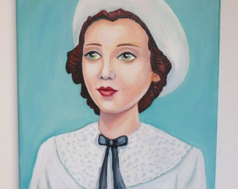 Millie, an original painting of a beautiful vintage girl wearing a hat.