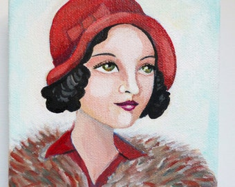 Helen, an original painting of a vintage woman wearing a red hat.
