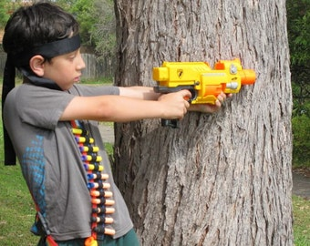 nerf gun accessory, toy gun accessory, holster toy, bandolier, boys toys, outdoor toy