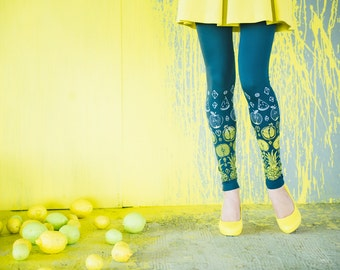 Citrus fruits -  dark grey leggings