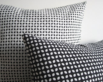 Black White Pillow Covers, 12x18 Decorative Pillows, Reversible Pillow Cover, Geometric Trellis Decorative Pillow