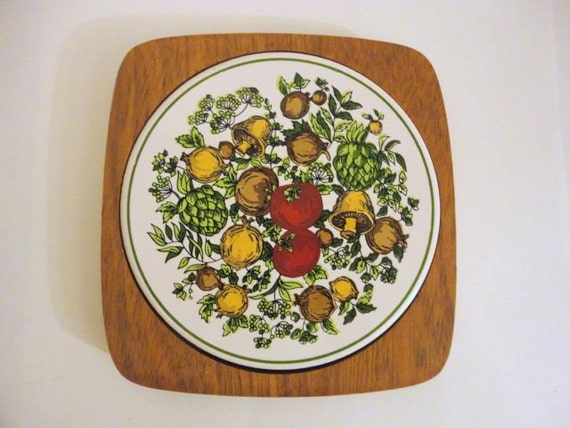 Vintage Wooden Trivet With Ceramic Tile 1970s By Metrocottage
