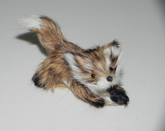 Miniature Fox Rabbit Fur Figurine Made in Germany Choice of One