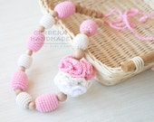 Nursing necklace/ Pink nursing necklace/ Teething necklace/ Breastfeeding necklace/ White beige nursing babywearting necklace