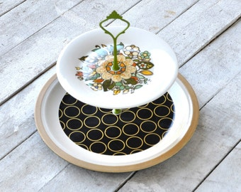 2 Tier Serving Tray, Cabachon: Modern Folk Geometric Floral Mandala, Vintage, Hostess Gift