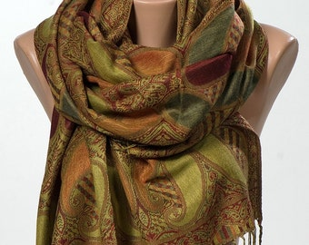 Long Scarf or Shawl or Neck Wrap.Mothers Days Scarf. Spring scarf wrap. Green and Orange. Happy Christmas .