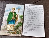 50s St Patrick holy prayer card gold gilt edge vintage Hail Glorious Saint Patrick's day Easter religious paper ephemera printed in Italy