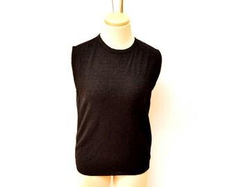 60s Black Sleeveless Shirt Nylon Textured Womens Medium Large