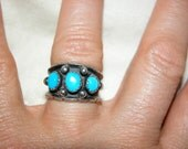 Vintage Navajo Ring Signed Turquoise Ring Handmade RC Vintage Sterling Silver Turquoise Ring Size 6-6.5