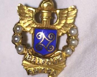 Gold Balfour Award Vintage 10K Gold Enamel BALFOUR AWARD Lapel Pin Tie Tac