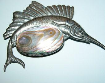 La Jolla Swordfish Brooch Sterling Silver Sailfish Brooch Unisex Fish Figural Brooch Pin Signed Abalone