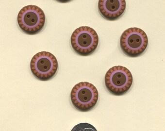 Set of 8 Brown Plastic Buttons - flower design-Item#113
