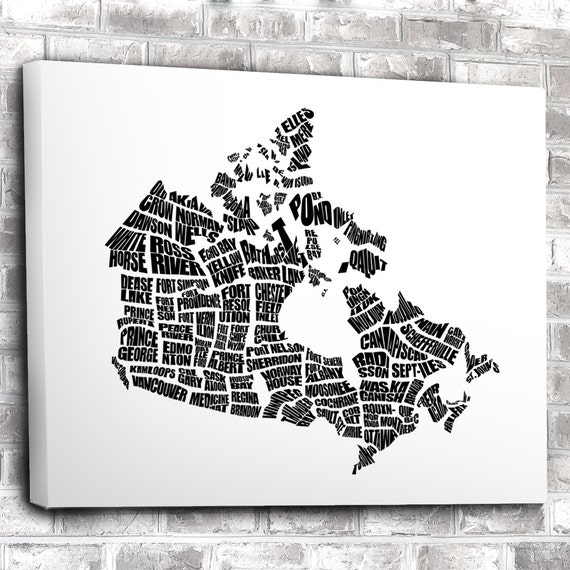 Canada Word Map A Black and White Typographic Word Map of