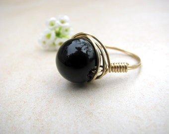 Black Onyx ring, Gold ring, wire wrapped ring, gemstone ring, black gemstone, gold filled