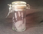 Custom Real Baby  Footprint or Handprint Hand Engraved/Etched Glass Stash Jar